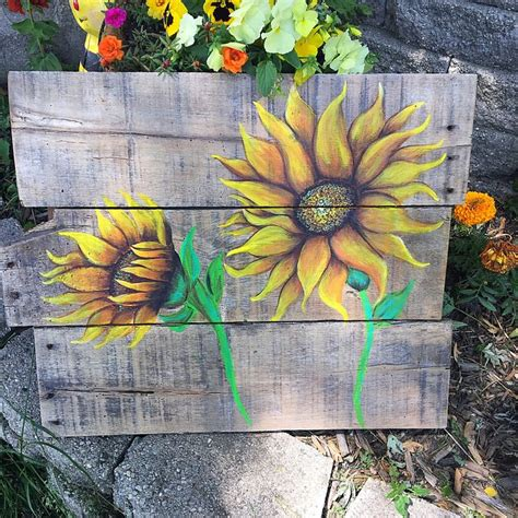 pin  judy klein  sunflowers   rustic art screen painting sunflower painting