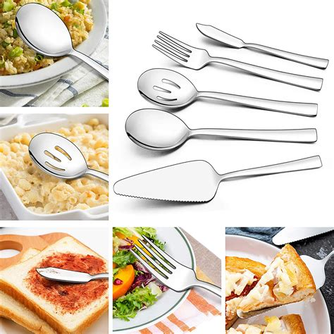 flatware consumer utensils lianyu silverware cutlery tableware serving finish eating mirror stainless steel piece square picks rated report