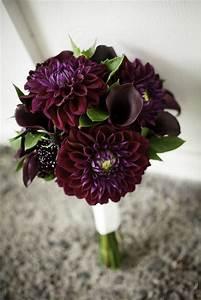 My wedding bouquet featured dark purple dahlias and calla ...