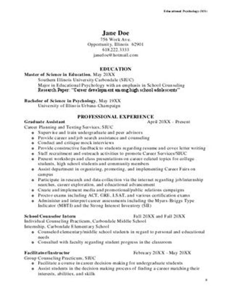 Counselor Intern Resume Sles by Siu Resume Sle By Southern Illinois Carbondale Issuu