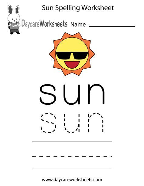 preschool sun spelling worksheet