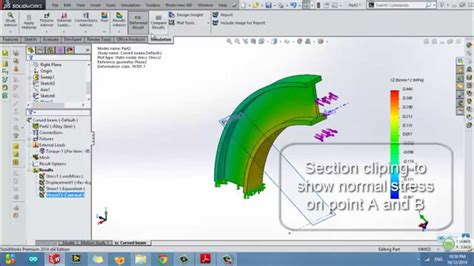 solidworks stress simulation  curved beam youtube