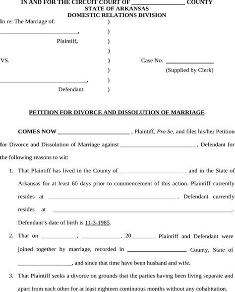 arkansas divorce forms download download arkansas divorce petition form for free page 3