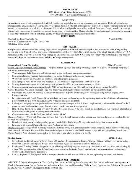 resume senior logistics manager