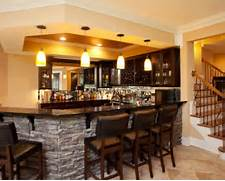Stone Bar Home Design Ideas Pictures Remodel And Decor Sticks And Stones Used To Transform Basement Traditional Kitchen Sigovich Design Build Interiors Finished Basement Photos 1 Basement Finishing Remodeling Kitchens Baths