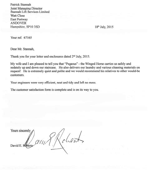 stannah customer letters