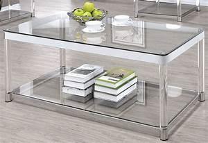 Chrome and clear acrylic rectangular coffee table from for Clear lucite acrylic coffee table