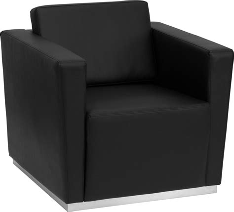 contemporary black leather lounge chair with stainless
