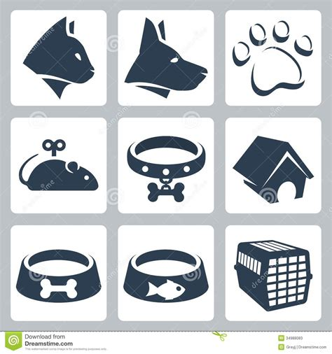vector pet icons set stock 34988083