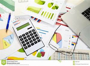 Diagrams And Calculator Stock Image  Image Of
