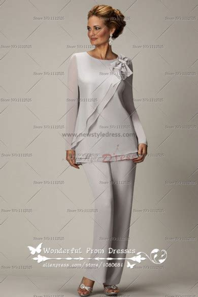 long sleeves light gray  piece chiffon mother