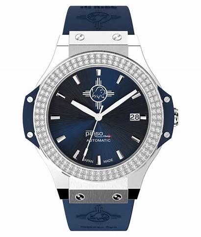 Blau Swiss Pa Steine Uhr Schwarz Stone