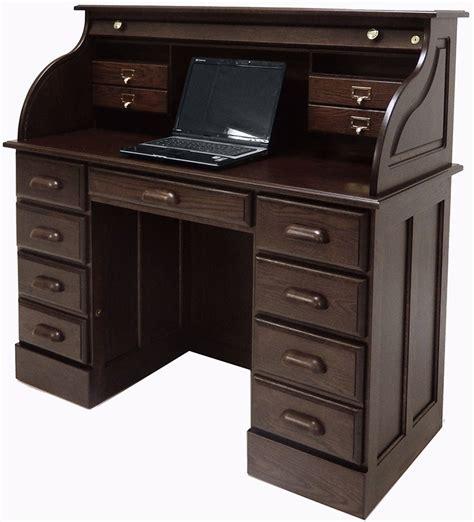 solid oak roll top desk 51 3 8 quot w solid oak roll top laptop notebook tablet desk