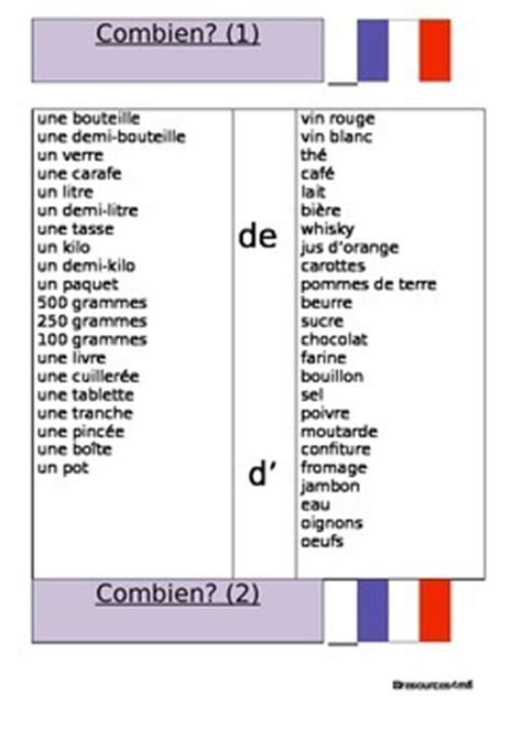 french worksheets combien quantities of food and