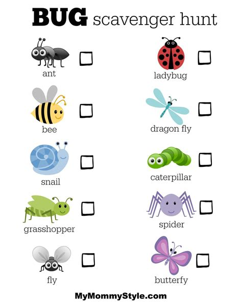 25 bug activities for my style 764 | bug scavenger hunt1