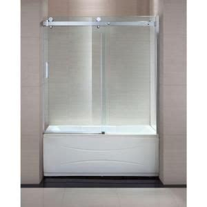 Shower Tub Enclosures Home Depot Schon Judy 60 In X 59 In Frameless Sliding Trackless Tub