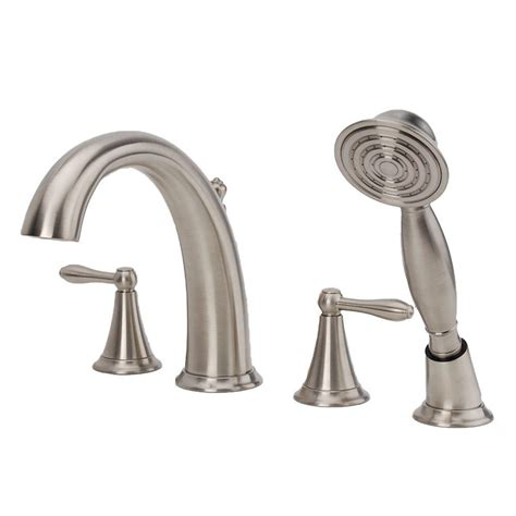 Brushed Nickel Tub Faucet by Fontaine Montbeliard 2 Handle Deck Mount Tub Faucet