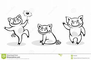 Black-and-white pigs stock vector. Image of artistic ...