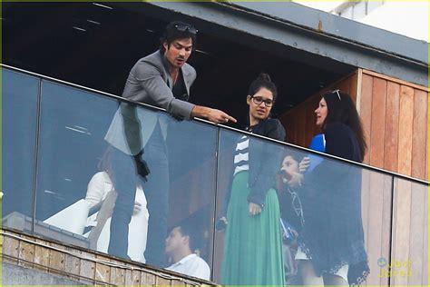 Ian Somerhalder Greets Brazilian Fans From Hotel Balcony