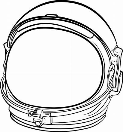 Astronaut Helmet Space Clipart Drawing Line Suit