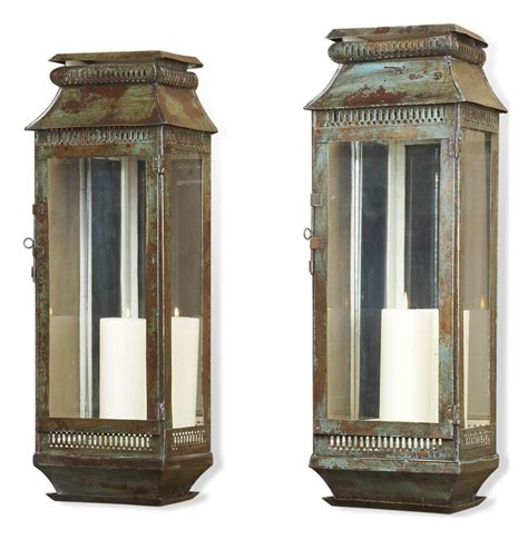 modena tall moroccan rustic pair wall sconce lanterns kathy kuo home