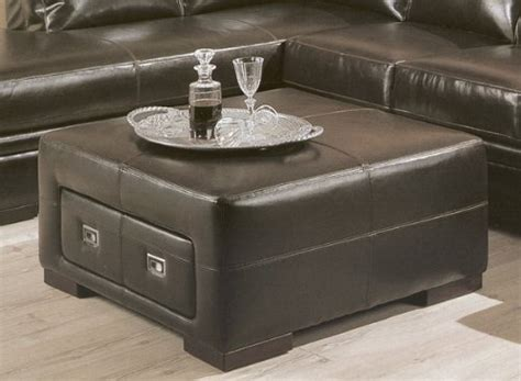 brown ottoman coffee table contemporary dark brown leather storage cocktail coffee