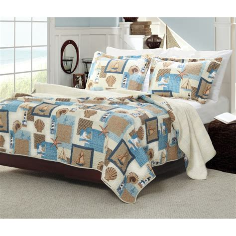 Nautical Beach Themed Bedding For Adults On Brown Hardwood