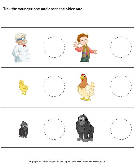 tick younger cross older worksheet turtle diary