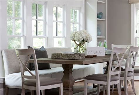 dining table  upholstered bench  chairs