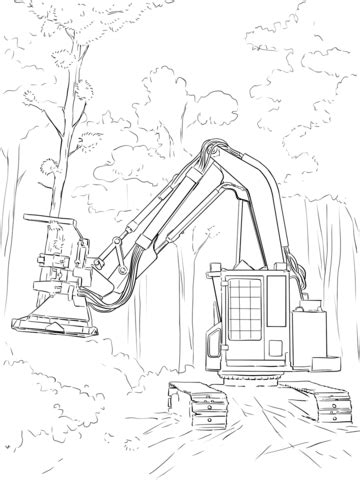 feller buncher coloring page printable coloring pages