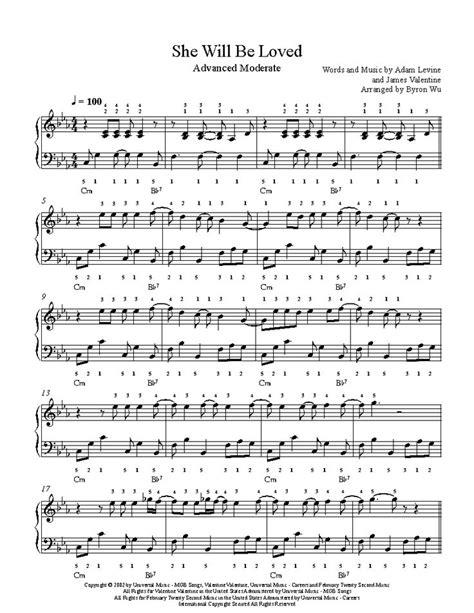 sheet piano advanced she loved maroon level violin playground song sheets partitura