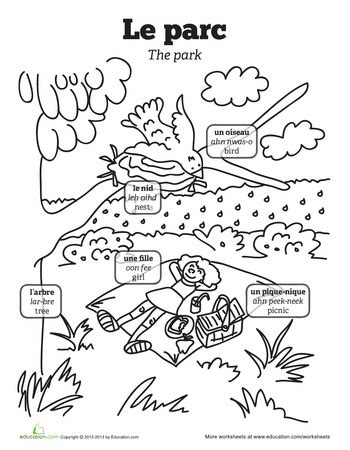 Picnic in French | Worksheet | Education.com | French ...