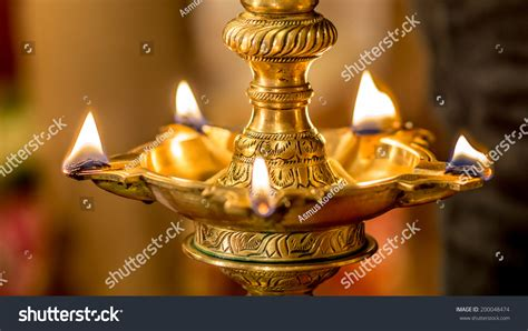 Traditional South Indian Brass Oil Lamp Stock Photo