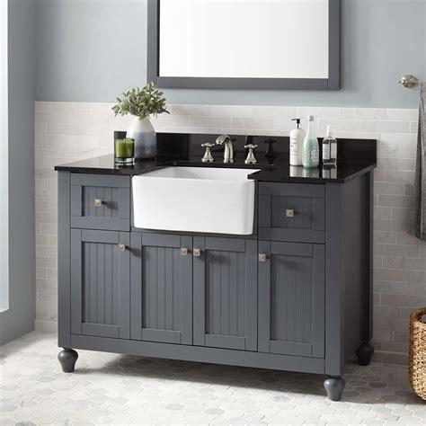 48 Nellie Farmhouse Sink Vanity Dark Gray Bathroom