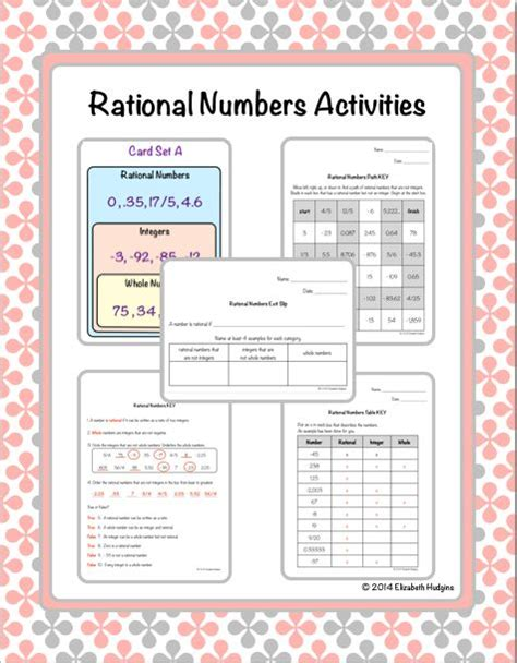 rational numbers activities activities math and number activities