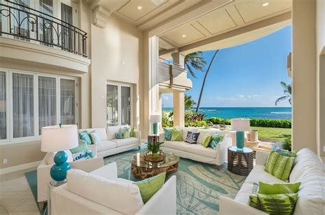oceanfront home  honolulu  stunning architectural details  lush tropical landscaping