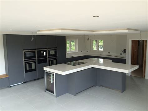kitchen island units handleless satin grey lacquer kitchen with 100mm quartz 2033