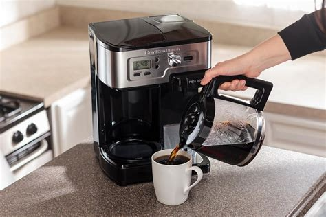 This machine comes with grinding and brewing facilities. Amazon.com: Hamilton Beach Single Serve Coffee Brewer and Full Pot Coffee Maker, FlexBrew ...