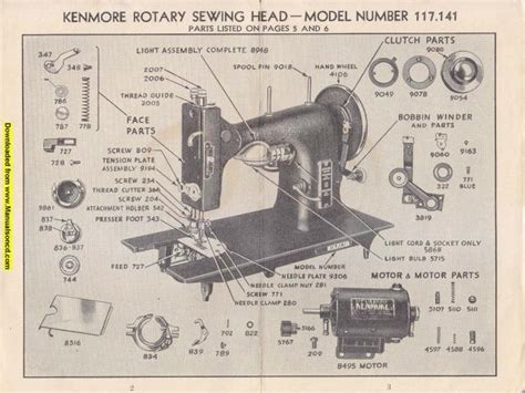 Rotary Machine Diagram by Kenmore 117 141 Rotary Sewing Machine Manual