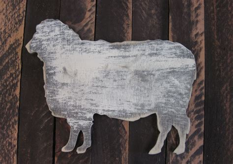 vintage sheep whimsical wooden wall decor