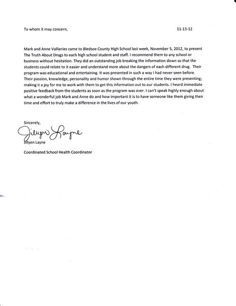 school student recommendation letter
