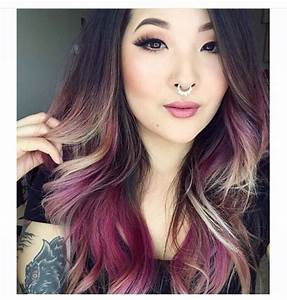 Brown purple blonde dyed blond hair color dip dyed ombre ...