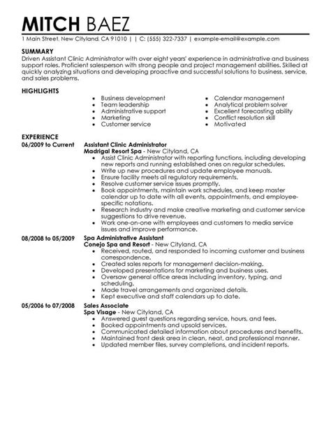 Administrative assistant resume sample assists in entering required information easily. Best Assistant Clinic Administrator Resume Example From Professional Resume Writing Service