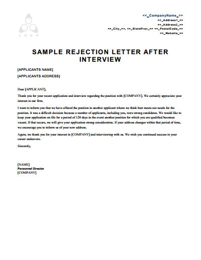 rejection letter template   create edit