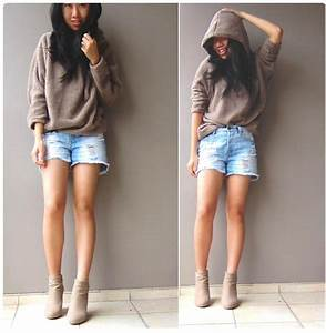 Amy ? - Bear Hoodie + Denim Shorts + New Favourite Wedges - Bearly There | LOOKBOOK