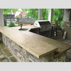 Outdoor Ligth Brown Concrete Kitchen Countertops