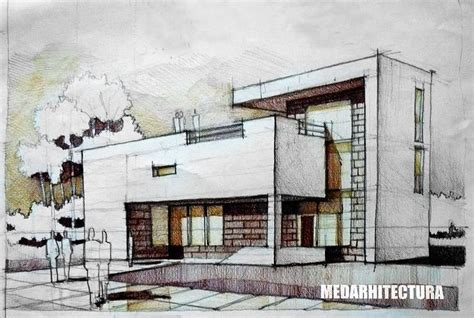 Modernist House. Two White Concrete Pieces Are Held Together By A Brick Core With Several Large