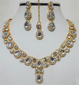 Indian Gold Plated Stones Kundan Necklace Earring ...