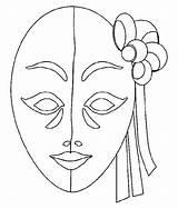Decoplage Masks Coloring Carnival sketch template