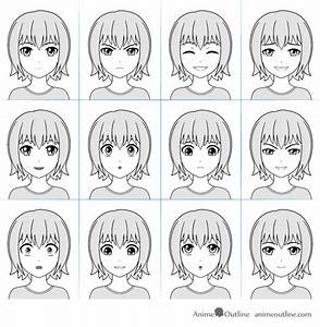 12 Anime Facial Expressions Chart & Drawing Tutorial ...